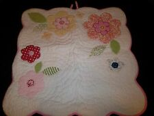 Pottery Barn Kids Euro Applique Flowers Scallop Edge Sham Pink White Green Blue