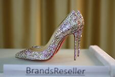 NEW CHRISTIAN LOUBOUTIN Pigalle Follies 100 Glitter Rose Gold Heels Pump Shoe 38