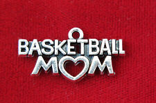 "5pc ""Basketball mom"" charms in silver style (BC823)"