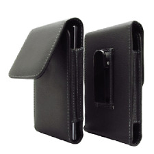 Black leather case belt clip pouch for Alcatel One Touch Idol X OT-6040 6040D b