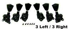 "6 pc. Black ""Tombstone"" Sealed-Gear Guitar Tuners/Machine Heads (3L/3R) 31-17-01"