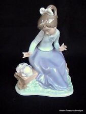 Rare Lladro Nao Girl Sitting On Log w/Puppy Dog Porcelain Figurine Spain