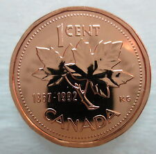 1867-1992 CANADA 1 CENT 125th CONFEDERATION ANNIVERSARY PROOF-LIKE PENNY