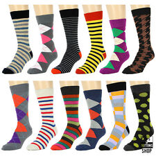 New 12 Pairs 1 Dozen Men's Fashion Dress Socks Arglye Stripes Pattern 10-13