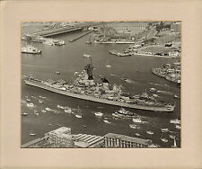 "large mounted photo of the ""  uss iowa "" entering portsmouth harbour 1986"