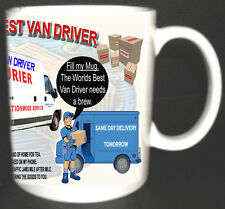 WORLDS BEST VAN DRIVER MUG.DELIVERY COURIER TRUCK DRIVERS POEM, ADD ANY NAME FOC
