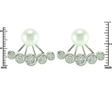 Glitzy Pearl Stud With Bezel Set AAA Cubic Zirconia Rhodium Ear Jacket Earrings