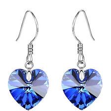 Crystal Jewellery Dark Blue Hearts Drop Earrings E846