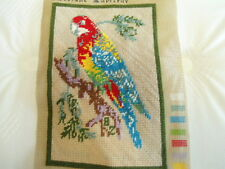 """Needlepoint Parrot Finished for Pillow, Wall Hanging or Picture 8""""x12"""""""