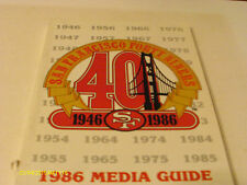 San Francisco 49ers 1986 Media Guide Bill Walsh Joe Montana Dwight Clark