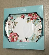 222 Fifth Oriana Teal Dinner Plates Set Of 4 Spring French Country