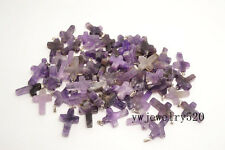 Wholesale 50X Cross Amethyst gemstone stone Silver P Bead Pendants Fit Necklace