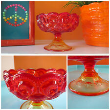 VTG 1960s LE Smith Moon Stars Red Amberina Art Glass Round Pedestal Bowl Dish
