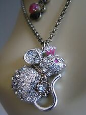 BETSEY JOHNSON WOODLAND TOC MOUSE 2 ROW PENDANT NECKLACE~NWT