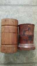 """Lot of 2 Old BRUSH POTs 4.5"""" Bamboo c1940 or older and American 5.5"""" wood"""