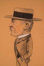 Dessin Fusain 1901 VAN CASTELLE Peintre Belge Portrait Charge Homme au Canotier