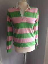 PINK AND GREEN STRIPED POLO RALPH LAUREN RUGBY SHIRT  SZ SMALL