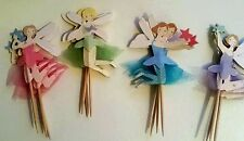 12 ANGEL FAIRY cup cake Birthday /Christmas .kids party toppers.10cm PASTEL NET