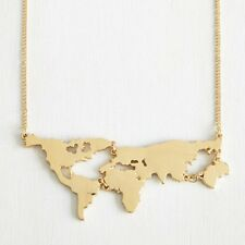 9K GOLD PLATED 'MAP OF THE WORLD' NECKLACE GIFT XMAS  *UK SELLER*  NGP12