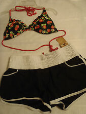 ARIZONA M Swim Board Short Strawberry Print Halter Bra Bikini Set NWT Swimsuit