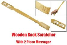 "18"" 2in1 Wooden BACK SCRATCHER Massage Twin Roller Wheel Massager Stick Wood"