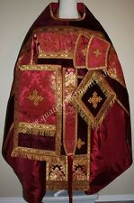 Russian Orthodox Priest Vestment Greek Metallic Brocade Red Gold with Velvet
