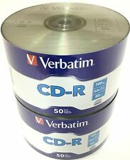 100 VERBATIM Blank CD-R CDR Logo Branded 52X 700MB 80min Recordable Media Disc