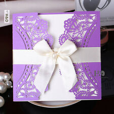 60 Purple Wedding Invitation Cards Kit with Bowknot Custom Personalized Printing