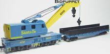AT&SF Santa Fe MOW Steam Crane and Boom Tender Flatcar ROCO N Scale