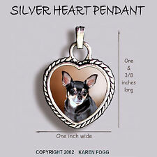 CHIHUAHUA DOG Smooth Black and Tan - Ornate HEART PENDANT Tibetan Silver