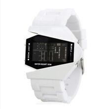 Fashion white Stainless Steel Luxury Sport Digital LED Wrist DIAL Watch