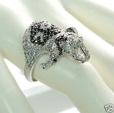 Solid 925 Sterling Silver Black and White CZ Elephant Cocktail Ring Size-8 '