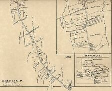 West Islip North Babylon Deer Park NY 1888 Map with Homeowners