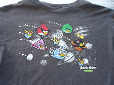 Boy's size Large Angry Birds in Space Gray Tee Shirt