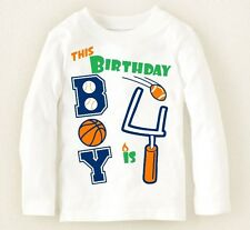 NEW** 4th Birthday 4 Years Baby Boys Graphic Shirt 4T Sports Gift! Nice! Party