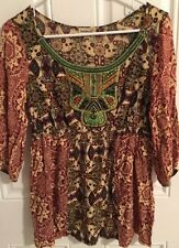 One World Live and Let Live Women's Size Small Embellished Rayon 3/4 Sleeve Top