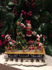 DISNEY MINNIE MOUSE and Mickey's Nephews Christmas Train Village Figure RARE
