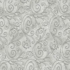 HOLIDAY TRADITIONS GREY SCROLL SNOW CHRISTMAS FABRIC