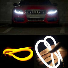 2x 60CM Flexible Tube Guide Auto Car LED Strip White DRL Amber Turn Signal Light