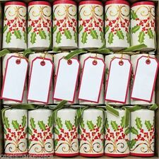 Caspari Set of 6 Christmas Embroidery Holiday Celebration Crackers Party Favors