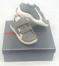 KIDS PRADA SNEAKERS GRAY/ WHITE  2 STRAP  SIZE EU 23 / USA 5 PRE SCHOOL