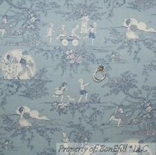 BonEful Fabric Cotton Quilt VTG Blue Baby Boy Toile Girl White Shabby Chic SCRAP