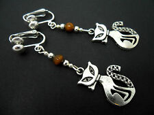 A PAIR OF TIBETAN SILVER & TIGERS EYE BEAD  CAT  CLIP ON EARRINGS. NEW.