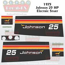1975 Johnson 25HP Electric Start Outboard Reproduction 9 Pc Vinyl Decals
