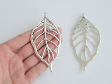 5pcs Antique Silver Large Open Filigree Leaf Charms Pendants Jewelry Findings