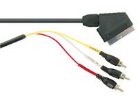 Scart Plug to 3 RCA Phono Plugs RGB Cable 1.5m Lead