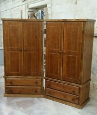 HANDMADE NEWBURY SOLID PINE 2 X WARDROBE DARK OAK POLISHED **READY ASSEMBLED**