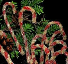 """12 Aged 7"""" Chenille Candy Canes -- Primitive Vintage look w/ Sparkling Glitter"""