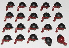 LEGO LOT OF 20 NEW MINIFIGURE DARK RED PONY TAILS HAIR PIECES HORSE HELMETS