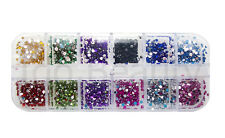 NAIL ART GEMS JEWELS DESIGN CRAFT NAILS WHEEL 2mm ROUND MIXED COLOUR GEMS 410